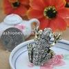 Crystal Rhinestone Frog Metal Adjustable Ring Fashion Animal Ring Jewelry