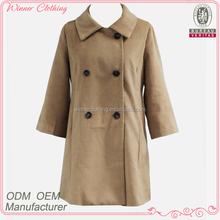 high quality polyester/wool coat with long sleeve and double breasted