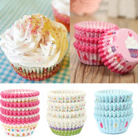 100Pcs/set Soft Round Cake Cupcake Liner Muffin Paper Tray Case Oven Baking Bake Mold Wedding/Birthday Candy Nut Snack Cup