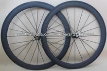 700C bicicleta de carretera ruedas carbono de 50mm tubular o cubierta con Bujes negro y radios negros