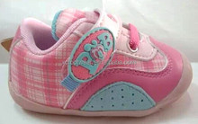 XCB03 cute velcro elastic colorful grid baby sport shoes