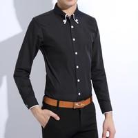 2015 New Dress Fashion Quality Long Sleeve Shirt Men.New Korean Slim Design,Formal Casual Male Dress Shirt.Solid 2 Colors