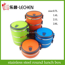 Stainless Steel Round Lunch Box Food Carrier Mess-tin 2layers 3layer Storage Box Food Container Fast Food Snack Boxes