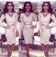 2015 new arrival top quality nude long sleeve two piece bandage dress wholesale dropshipping