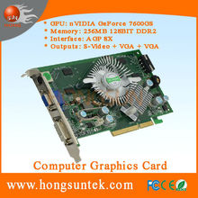 NVIDIA GeForce 7600 GS AGP 256MB 128BIT DDR2 S-Video/VGA/DVI Video Gaming Graphic Card P508 for Arcade Machines