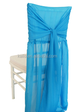 chiffon fancy silk fabric wedding chair cover/self-tie fashion chair cover/white high quality modern chair cover