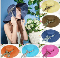 Women Sun Candy Color Straw Hat New Arrival Fashion Wide Large Brim Summer Beach Cap MZ2376