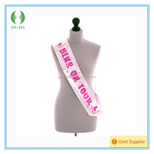 Pink and White Hens On Tour Sash