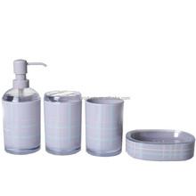 Grey plastic bathroom accessory set for home use