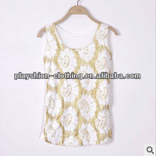 Fashion European Lace Embroidered Halter Women T-shirt