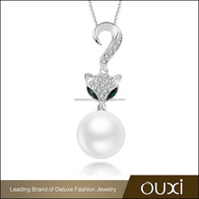 OUXI latest fashion artificial long baroque fox necklace original pearl