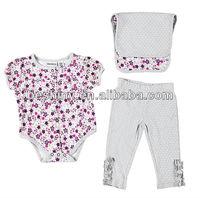 6pcs 180gsm interlock cute baby girl printed baby clothes set
