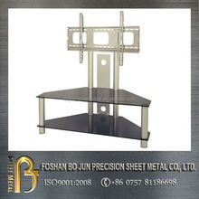 Made in china precision stainless steel tv stand with glass