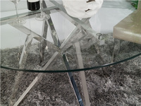modern design stainless steel dining table with glass