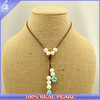 2015 Alibaba nuclear pearl leather necklace, turquise bead leather necklace, turquise pearl pendant necklace