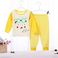 Funncy Style Long Sleeve Latest Embroidery Designs Suits 100% Cotton Children Baby Christmas Striped Pajamas