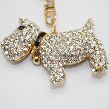 New puppy crystal rhinestone keychain dog keychain alloy keychain girls women