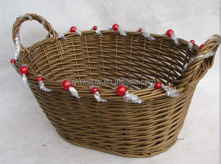 Empty Wicker Gift Baskets : Handmade oval wicker christmas gift basket empty