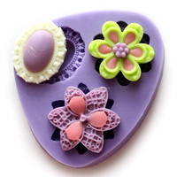 F0304 3 types of Flowers Fondant and Gum Paste Mold cake decorations