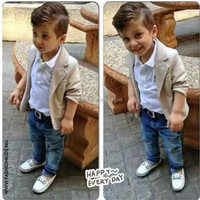 2015 Boys Spring clothing Sets kids boys T-shirt + Denim Pant + Jacket 3-pieces clothing sets Clothes 2015 New children Costume