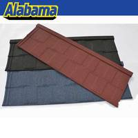 Soncap certificate nuoran shingle tile, natural stone chip coated metal roof tiles