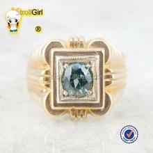 Hot sale gold ring 585 emerald cz setting 10k gold gay men ring
