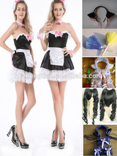 Hot walson China instyles 2015 disfraz clothes Ladies french maid costume halloween costumeerotic lingerie disfraz clothes