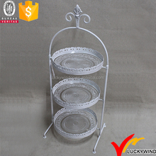 French farmhouse shabby chic design metal 3 tier cake stand