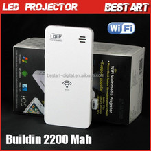 SP-W500 WiFi Mirror EZ Display Mini Pocket DLP LED Projector Home Theater 50 Lumens Audio Out, with power band buildin 2200mah