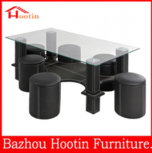 alibaba cheap price black leather top glass coffee table with 4 stools