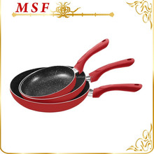 red color aluminum non-stick marble coating fry pan set with soft touch silicone paint handles and induction bottom