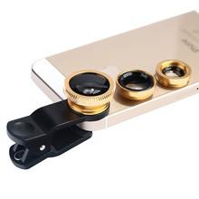 Made IN CHINA alta definición 3 en 1 gran angular ojo de pez macro smartphone kit de lentes con tapa