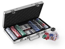 300pcs poker chip set in Silver aluminium case