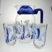 machine made 7 pcs water glass cups water glass pitcher sets