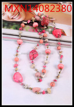 South Korea 's foreign trade mix color fashion wild personality turquoise long necklace sweater chain wholesale discount fashion
