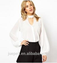 2015 nuevas mujeres venta al por mayor modelo de la gasa blusa para uniforme OEM