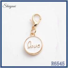 Locket lobster dangle promotional ! enamel white gold plated charms fancy love letter pendant dangles