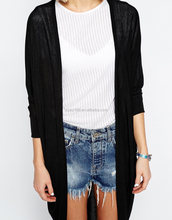 Stylish wholesale ladies cotton cool open front dropped shoulder long knitted cardigan casual coat
