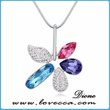 Austrian crystal necklace - three color butterflies flying selected female Korean