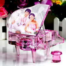 special design love photo frame wedding favors grand paino crystal music box