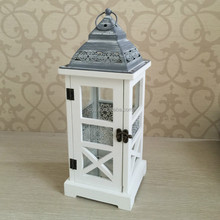 EUROPEAN STYLE WHITE WASH WOOD CANDLE HOLDER LANTERN WITH BLACK METAL ROOF