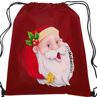 Non Woven Promotion Bag, Christmas Theme Customized Drawstring Non Woven Promotion Bags with Santa Printed, PromoMakerMart