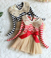 TF-W02151016014 princess dress sequin collar stripe lace dress girls cute dress