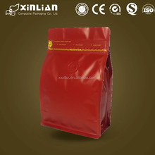 matt red coffee bag/pocket zipper coffee bag/coffee bean packaging bag