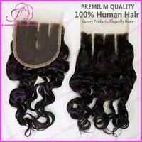3 Part Silk Base Lace Closure Natural Virgin Brazilian Deep Wave Hair