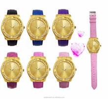 China customized mens and womens alloy case leather gold watches