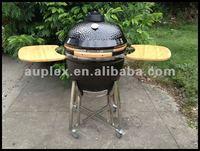 Large black ceramic kamado smoker