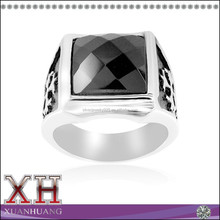 Classically Style Sterling Silver Royal Cross and Black Stone Men's Ring