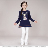 2015 New Design Autumn Girls Red Tops Tees Shirts With Animal Print Fashion Girls National Style Clothes BT81110-32