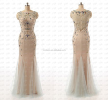 Grace Champagne color 2015 Sexy Long Sequins Beads Prom Dresses F&MG19